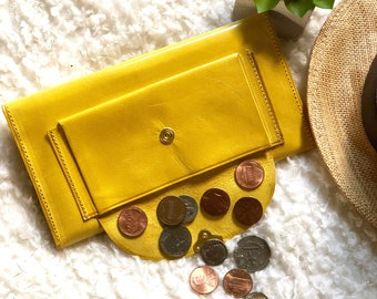 Handcrafted with authentic leather Wallets for women -  Wallet women - Women's wallet  -Leather wallet women's - yellow wallet