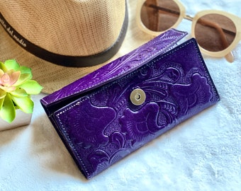 Handmade leather woman wallet -Lilies wallet - floral wallet woman - Leather wallet women's- gifts for her- gift for mom