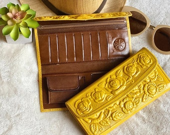 Leather wallet for her - handmade woman wallet - yellow roses wallet - gift for her - woman wallet - woman purse - long wallet