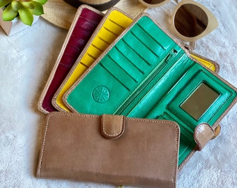 Woman leather wallet - slim bifold wallet - light brown wallet for woman - gifts for her - Bicolor woman wallet