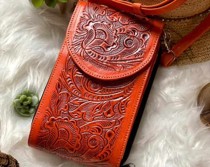 Orange Leather Crossbody - Handmade Leather Crossbody - Small Bag - Boho Crossbody Bag - Woman purse - women gifts - Small Bag