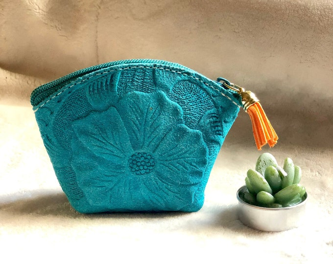 Bohemian pouches - coin purse woman - Hibiscus tooled pouch- gift for her - small cosmetic bag