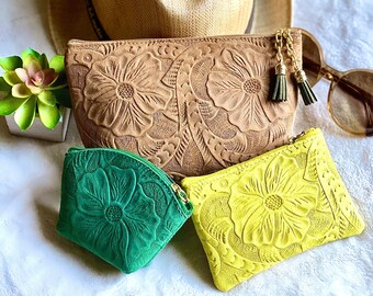 Leather Makeup bag - Bridesmaid gift - Makeup pouch - Makeup bag leather - Cosmetic bag - Toiletry bag - Travel bag - gift for her