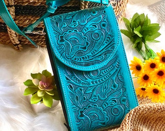 Turquoise Handcrafted Authentic leather Crossbody Bag -Teal crossbody wallet -crossbody purse -boho crossbody - small bag - gifts for her