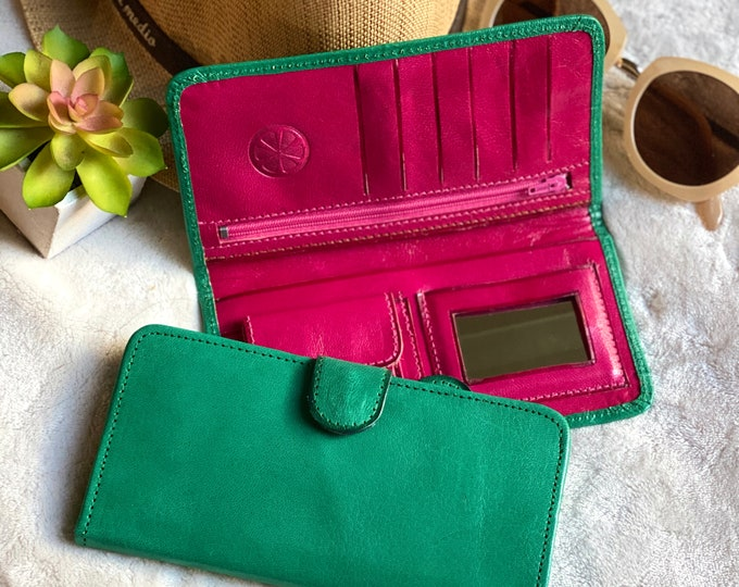 Handmade leather bicolor woman wallets-leather wallets women's - wallets for women- green leather wallet- gifts for her
