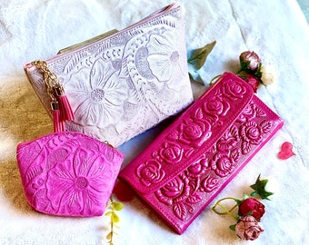 Valentines gift for her - Leather cosmetic bag - woman leather wallet - leather pouch -roses leather wallet