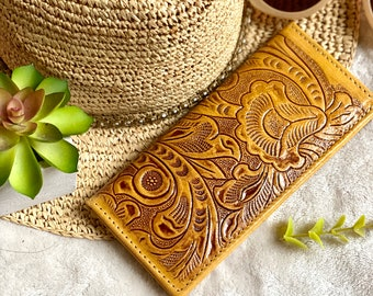 Tooled credit cards wallet- checkbook cover - gift for her - yellow woman wallet - leather checkbook cover - woman wallet - woman wallet