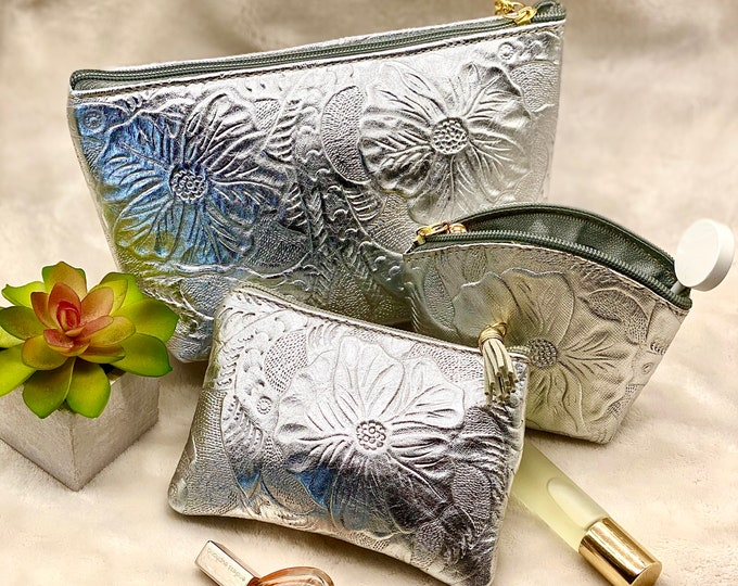 Silver handcrafted leather pouch with zipper - small cosmetic bag - charger bag - small travel bag - gift for her - Mother's Day gift