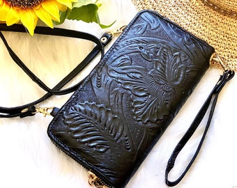 Handmade wristlet clutch bag- Wristlet wallet - woman wallet - wristlet clutch - Cellphone purse - leather clutch - gift for her