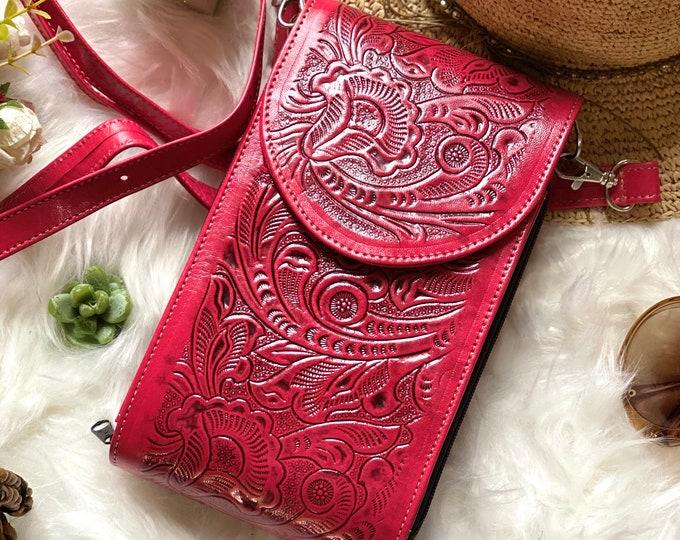 Red Leather Crossbody Bag - Crossbody Messenger bag - Small Bag - Boho Crossbody Bag  - Small Bag - Messenger Bag