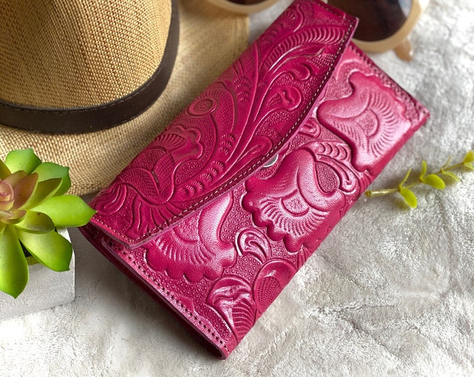 Handcrafted authentic leather wallets for women - leather wallet woman - woman wallet - handmade wallet - pink woman purse  - gift for mom