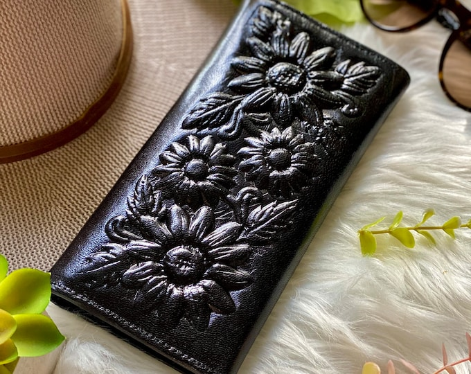 Vintage style authentic leather wallets for women • sunflowers wallets • black leather wallet • gifts for her