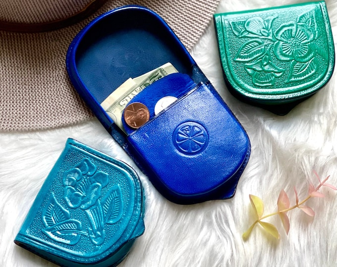 Handmade leather coin purse-change purse -floral pouch -gift for her -retro - vintage style