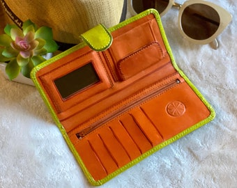 Handmade lime green wallet woman - Leather woman wallet - small wallet - Bicolor wallet - gift for her - bifold wallet-