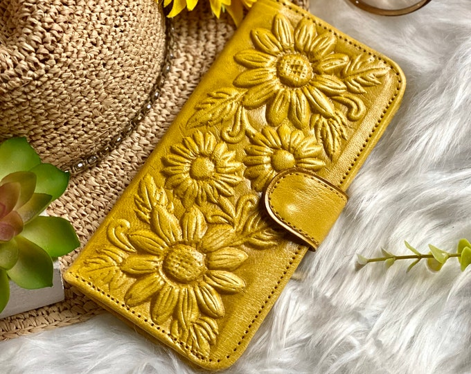 Sunflower gifts-woman wallet leather- gifts for her