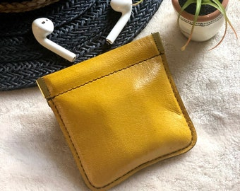Leather Squeeze Pouch - Leather AirPods Case- Leather coin purse- gifts for her