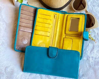 Handmade leather bicolor woman wallets - womans wallet leather - gifts for her - leather wallets women's - wallets for women