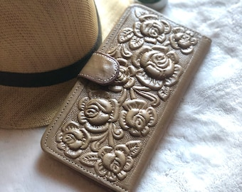 Handmade Authentic Leather Tooled Roses Woman Wallet - Gifts for her - Handmade Gifts
