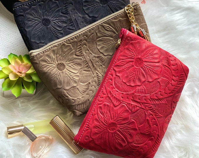 Hibiscus Handmade Leather Makeup Bag- Cosmetics Bag- Leather Bag - gifts for her