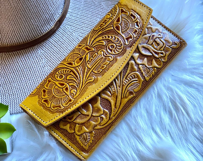 Featured listing image: Handmade leather wallet • gifts for her •  Bohemian roses wallet • wallet women leather• tooled wallet • Western