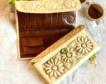 Woman wallet leather handmade - wallets for women - leather credit cards wallet - women purse - sunflowers leather wallet - gift for her