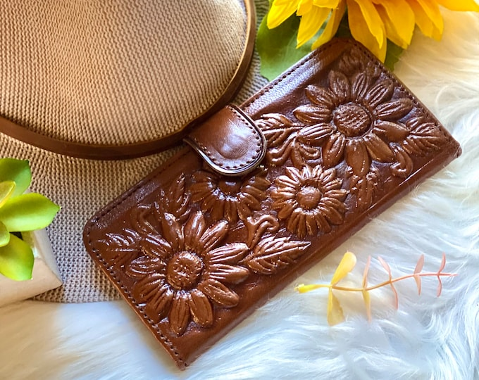 Sunflowers leather wallets for women - Handmade wallets - Bicolor wallet - bifold woman wallet - gift for her