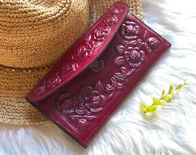 Vintage Style leather wallets for women - wallets for woman - Handmade leather woman wallet- gifts for her- floral wallets