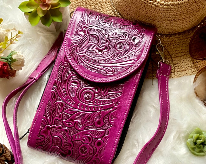 Lilac authentic leather crossbody small bag - Crossbody Bags - Crossbody purse - Crossbody phone case - Crossbody wallet - Handmade purse