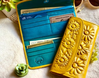 Handmade wallets for women- Sunflowers wallet - wallet leather women's - leather woman wallet purse - bicolor woman wallet - gifts for her