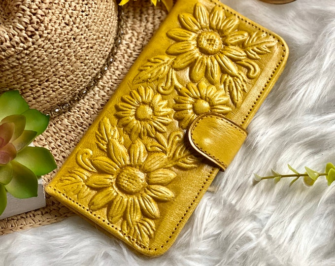 Wallet and Pouch Combo - Sunflower purse - Leather Wallet Woman -  Gift for her- woman pouch