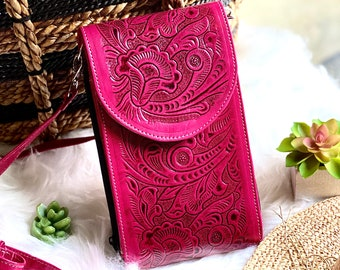Hot Pink Embossed leather bag - Crossbody purse - Bag - Purse - Western Crossbody -  Leather Crossbody bags -  Gifts for her