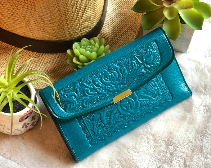 Teal Roses Woman Wallet with Zipper* Embossed Leather Wallet* Floral Wallet* Yellow Leather Wallet*Credit Card Wallet*Gift for Women