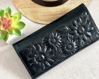 Handmade Leather wallet for women * Bohemian Sunflowers Wallet - Christmas gift for her