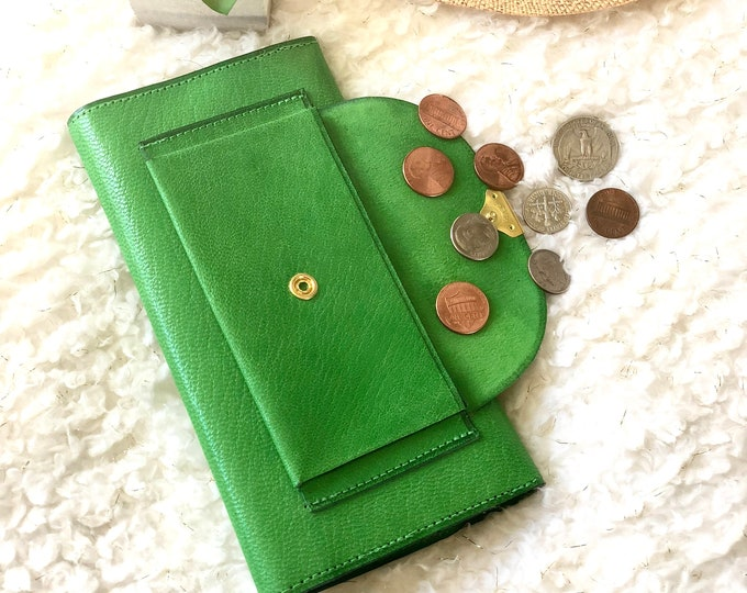 Woman Leather Wallet  - Authentic Leather wallets for woman -  gift for her- Green leather wallet