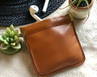Airpods Leather Case* Leather Squeeze Pouch*Handmade*Small Pouch*Leather Pouch*Headphones Case* Leather Coin Purse*Coin Holder*Condoms Case