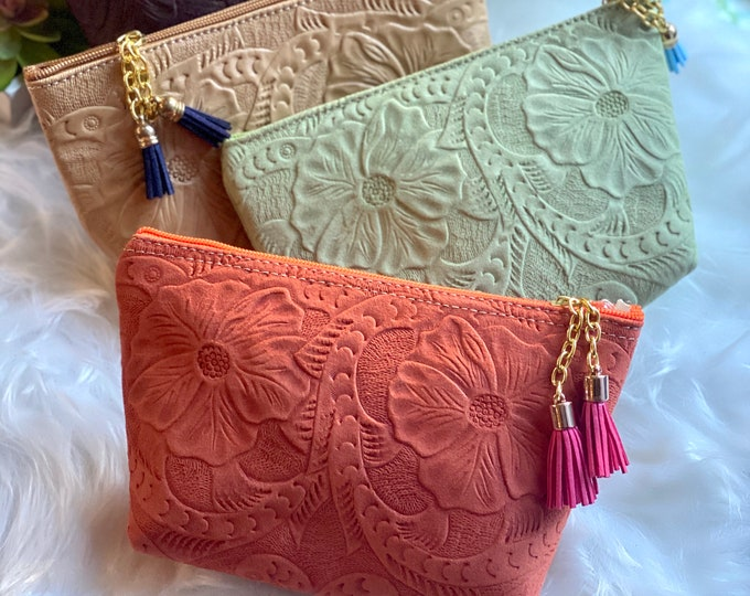Authentic Leather embossed Makeup Bag- Handmade Cosmetic Bag- Birthday Present- Gift for her