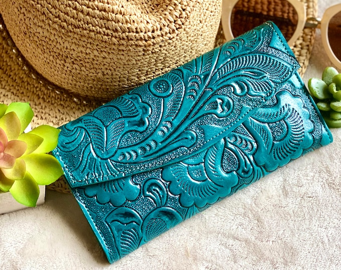 Teal Handcrafted Authentic Leather wallets women's - handmade wallet - woman wallet - gifts for her - handmade gifts