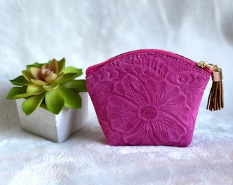Embossed leather Pouch bag - Travel pouch - Woman leather pouch - Hibiscus flower bag- woman coin purse -gift for her