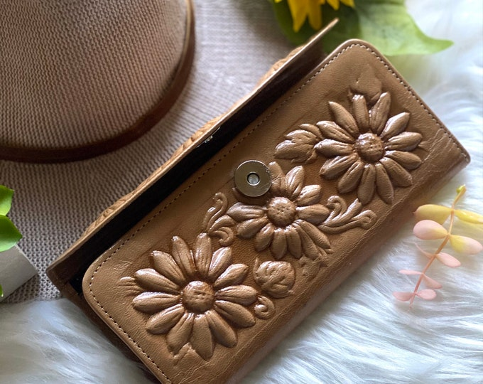 Sunflowers leather wallets for women-Gifts for her - womens wallets