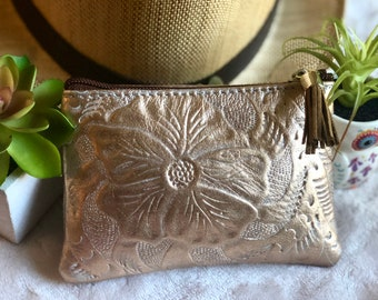 Small Leather Pouch*Leather coin purse* Cosmetic Bag*Leather Makeup Bag*Leather small Bag*Floral Leather Bag*Handmade Leather Bag*Makeup Bag