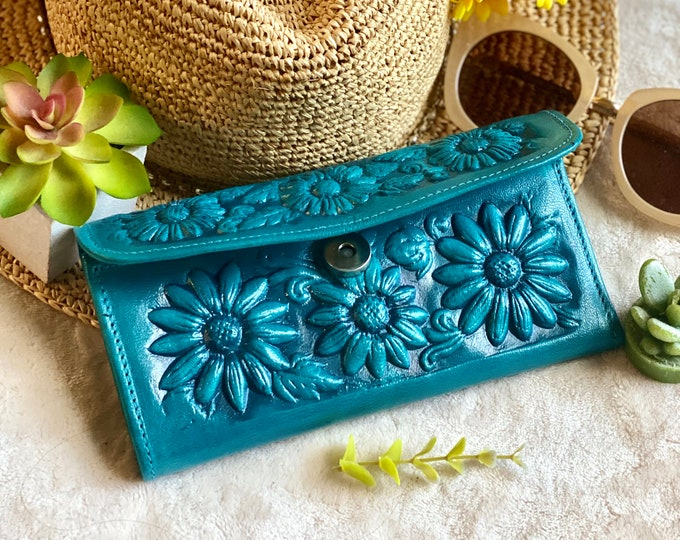 Authentic Leather wallets for women - woman purse - sunflowers gifts - flowers wallets - sunflower wallet purse - gifts for her