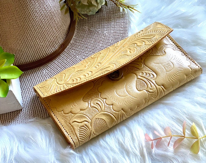 Handcrafted authentic leather wallets for women - leather wallet woman - gift for her - woman wallet - floral wallet