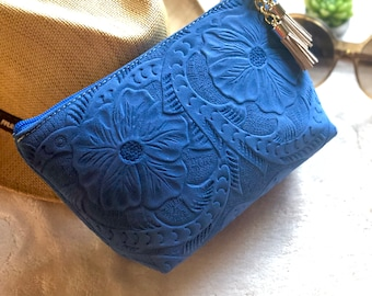 Leather Tooled Makeup Bag*Handmade Cosmetic Bag*Birthday Present*Gift for her*Leather Small Bag*Toiletry Bag*Valentines day Gift*Women Gift