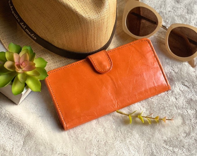 Handmade leather bicolor woman wallets-leather wallets women's - wallets for women- cognac leather wallet- gifts for her