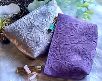 Cosmetic Bag - Make up Bag - Leather Makeup bag- gift for her
