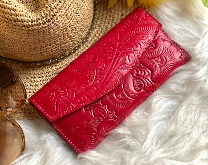Red Leather wallet women's boho- Authentic handcrafted leather wallet - wallet women - leather wallet women's  - gifts for women