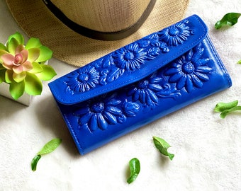 Leather sunflowers woman wallets, wallets for woman, Sunflowers gifts - wallet woman leather