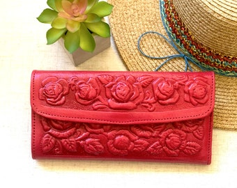 Leather Roses Woman Wallet- gift for her -Handmade Leather Wallet- Woman wallet - Leather wallet women's - Credit cards wallets