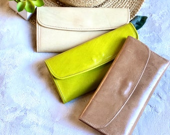 Handmade Authentic leather women wallets - credit cards wallets - leather woman wallet - long wallet leather - gift for her -trifold wallet