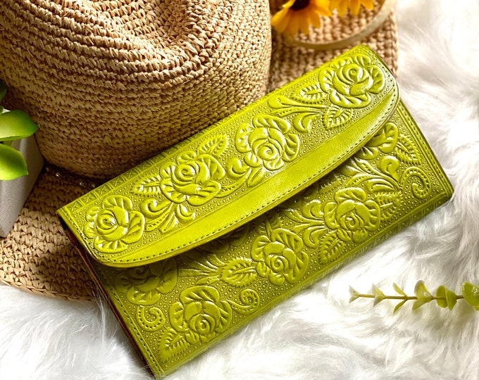 Lime Green Embossed Roses Wallet Women -  Gifts for her - womens wallet